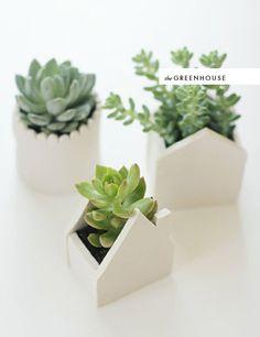 DIY clay house planters.