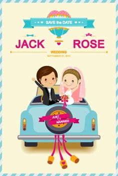 Cute Cartoon Style Wedding Invitation Card Vector 01
