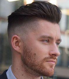 Disconnected Undercut + Brushed Back Hair + Stubble