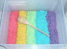 Sensory tub with rainbow rice