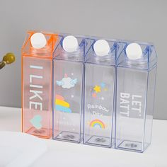 Plastic Milk Bottles, Cute Water Bottles, Juice Bottles, Plastic Bottle Design, Lip Gloss Homemade, Box Water, Milk Box, Foto Baby, Kawaii Room