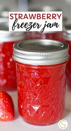 Easy homemade strawberry freezer jam recipe using sure-jell fruit pectin, sugar and fresh strawberries. This step by step tutorial makes 6 jars of homemade strawberry jam. This canning recipe is so easy! Strawberry Jelly Recipes, Strawberry Freezer Jam, Homemade Strawberry Jam, Homemade Jelly, Strawberry Jam Recipe Sure Jell, Making Strawberry Jam, Homemade Jam Recipes, Easy Jam Recipes, Strawberry Daquiri