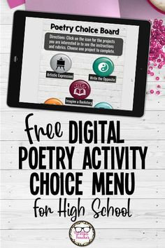 Mix it up in your high school ELA poetry unit with this interactive digital choice board for poetry activities! #teachingpoetry #ELA #choiceboard #remotelearning #TheLittlestTeacher