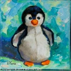 Baby penguin , plush toy original oil painting on canvas, nursery wall art, penguin collector Penguin Drawing, Penguin Art, Penguin Nursery, Oil Painting For Sale, Painting & Drawing, Spring Painting, Christmas Paintings, Christmas Art, Mini Canvas Art