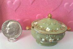 Dollhouse Miniature Soup Tureen Hand Painted Green with Flower Motif 1:12 scale dollhouse miniature