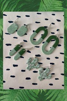 Cactus Earrings, Green Earrings, Dangle Earrings, Fimo Clay, Polymer Clay Earrings, Silk Screen Printing, Easy Diy Crafts, Statement Jewelry, Earrings Handmade