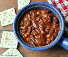 Make this chili with dried beans cooked fast, corn, chipotle peppers, robust craft beer chili.