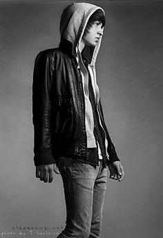 i forgot my telephone number by saturdayx Alex Evans, Model Test, Telephone Number, Funky Fashion, Black And White Portraits, Portrait Inspiration, Leather Jacket, Boys, Emo