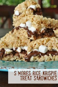 S'mores Rice Krispie Treat Sandwiches Recipe!  A great twist on the traditional s'mores desserts!