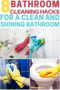 How to clean bathroom? Bathroom cleaning is most hated and also a tough job. But these bathroom cleaning hacks will make cleaning bathroom easy and save a ton of time. So, if you want a clean bathroom then do check out these bathroom cleaning hacks for a Bathroom Cleaning Hacks, Household Cleaning Tips, House Cleaning Tips, Diy Cleaning Products, Cleaning Solutions, Deep Cleaning, Household Cleaners, Spring Cleaning, Cleaning Supplies