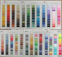 Sulky Rayon Poly Deco Polylite Thread Chart W Actual Thread Machine Embroidery Thread Sewing Machine Thread Sulky