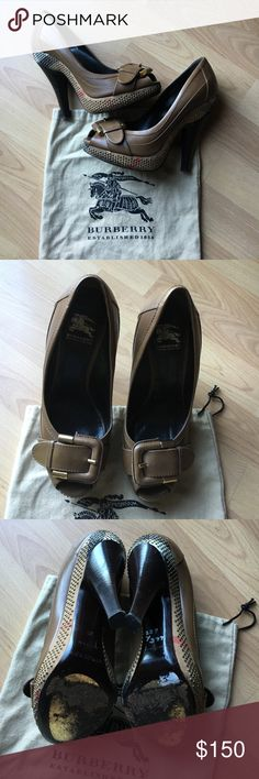 """Authentic Burberry Platform Heel Excellent used condition, this """"Prorsum"""" platform heel has the classic Burberry checked pattern adorning the perimeter with small, gold accent studs.  The platform and heel is of sturdy wood construct and the insole and upper are 100% leather and a leather and metal buckle sits atop the peep toe.  Please see photos for minor sole wear.  Comes with original dust bag.  Clean, smoke free home.  IMO these would fit a large 6.5-7 and do not run narrow.  Imprinted…"""