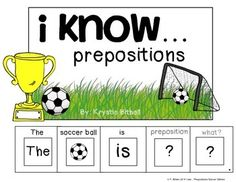 I know... prepositions soccer edition.  Practice prepositions with this fun soccer themed adapted book.  Includes 11 different propositions.  Speech Therapy, Autism, Special Education