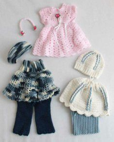 PA972 Abby, Allie and Annie 18 Inch Doll Outfit Crochet Patterns.  Abby, Allie, and Annie are ready to hit the town and have some fun in their stunning crochet outfits. Whether it's a dance-a-thon, ice skating or a picnic in the park, this crochet pattern has it all. Imagine all the stories your little girl will tell about the exciting experiences she shared with her doll.