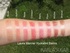SWATCHES :: Laura Mercier Hydratint Lip Balm :: SPF 15. Contains green tea, shea butter, grapeseed oil & vitamins C, A & E along w/ mint & orange flavoring. (Heavily swatched) :: I got a few of these in Apricot, Plum & Rose. | #karlasugar #tintedlipbalm #tintedbalm