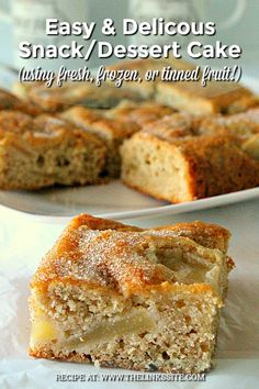 Make this easy snack/dessert cake using your favourite fruit. It's delicious with plums or apples but you could also use apricots, raspberries, or rhubarb! Apple Cake Recipes, Easy Cake Recipes, Easy Desserts, Sweet Recipes, Baking Recipes, Dessert Recipes, Easy Apple Cake, Easy Biscuit Recipes, Healthy Apple Cake