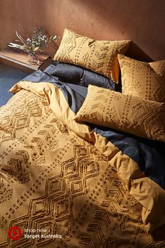 Clemens Tufting Quilt Cover Set - Refresh your room this season with the new Clemens cotton tufted jacquard quilt cover set, in musta - Home Bedroom, Bedroom Decor, Quirky Bedroom, Bedroom Ideas, Cheap Houses, Hippie Home Decor, Quilt Cover Sets, Bedroom Styles, Home Decor Accessories