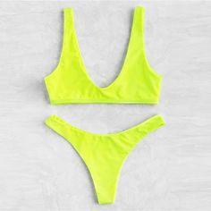 Neon Plunge Neckline High Leg Bikini Set Check out this Neon Plunge Neckline High Leg Bikini Set on Romwe and explore more to meet your fashion needs! Bikini Babes, Bikini Sets, Bikini Modells, High Leg Bikini, Sexy Bikini, Neon Bikinis, Cute Bikinis, Romwe, Plunge Bikini