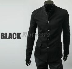 Mens Vintage High Collar Chinese Tunic Suit Jacket Coats Single Breast Black J20 | eBay