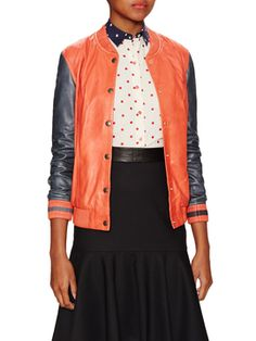 Varsity Leather Jacket  from App Exclusive: First Look Fridays on Gilt