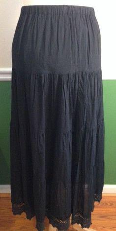 Long black peasant skirt size MEDIUM cotton tiered gypsy modestly full #CharlotteRusse #PeasantBoho