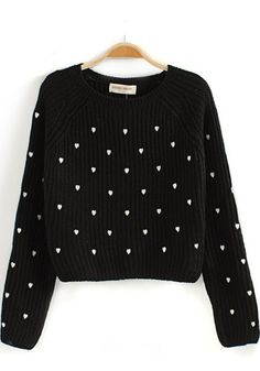Black Heart Print Long Sleeve Sweater