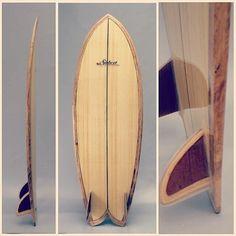 """Siebert 5'9"""" hollow wood fish #siebertwoodcraftsurfboards #woodsurfboard #surfboard #twinfin @felipesiebert"""