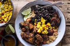 Cuban Chicken and Black Bean Quinoa Bowl with Fried Bananas  This vibrant bowl spills over with traditional Latin ingredients. Chili-spiced and fried bananas (which deliver a plantain-like flavor) plus a mix of spicy diced mangos add sweetness to the Cuban chicken, quinoa and black bean blend.