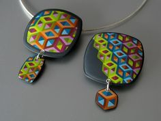 Pendants Hollow Cubes by ST-Art-Clay, via Flickr