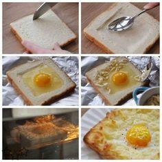 Huevos fritos con pan de molde y queso