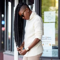 Box Braids with Shaved Side