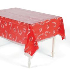Clear Candy Cane U0026 Peppermint Printed Plastic Tablecloth