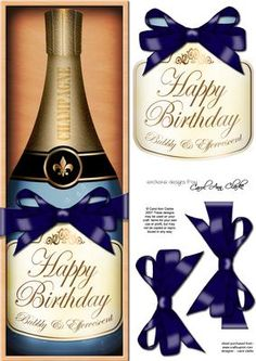 Large DL Birthday Champers in a Box Quick Card 3D Decoupage on Craftsuprint designed by Carol Clarke - A Lovely Gift Pack Bottle of Champagne in a wooden box, topped with a ribbon wrap and a bow.Ready to use Large DL card front with 3d step by step decoupage topper.This design is also available in other coordinating colourways/designs and together they would make a great set of cards to sell at craft fairs etc.This design is great for female birthday cards, male birthday cards, Invitations…