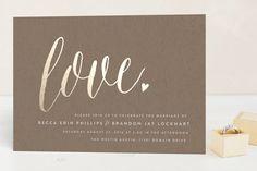 """Charming Love"" - Whimsical & Funny, Elegant Foil-pressed Wedding Invitations in Kraft by Melanie Severin."
