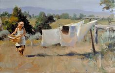 Laundry by Kim English. Painting People, Figure Painting, Painting & Drawing, Kim English, Art Timeline, Art Terms, Art Students League, English Artists, Landscape Paintings