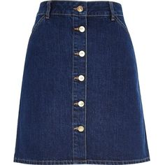 River Island Mid wash 70s button A-line denim skirt ($34) ❤ liked on Polyvore featuring skirts, bottoms, denim skirts, sale, women, knee length a line skirt, blue denim skirt, river island, blue skirt and button up skirt