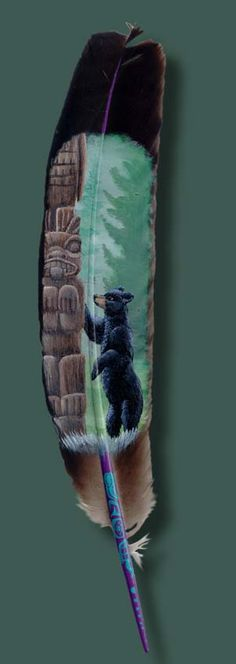 Featherlady Studio: wildlife art by Northwest artist Julie Thompson.  Family Tree. An adolescant black bear gazes up quizzically at a carved pole, as if trying to understand its meaning.