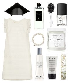 """""""Traditional White"""" by imahaterofallthings ❤ liked on Polyvore featuring Giambattista Valli, Sydney Evan, Serge Lutens, Lancôme, Herbivore Botanicals, New Look, NARS Cosmetics, OneSelf and graduationdaydress"""