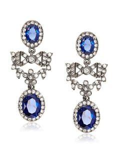 CZ by Kenneth Jay Lane Blue Bow Drop Earrings