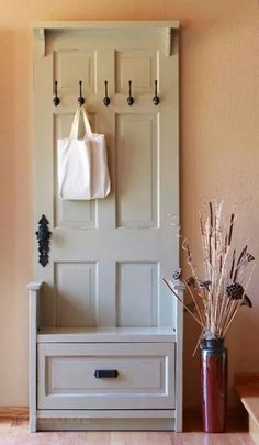 Entry hall storage bench & hooks