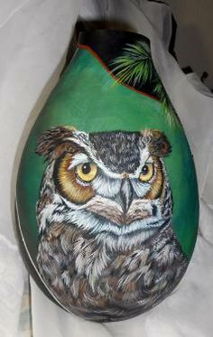 OWL~Hand Painted Gourds   Hand painted gourds  feathers