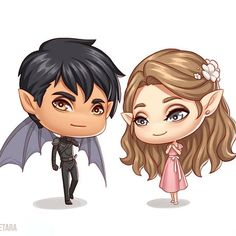Azriel and Elain. Shadows and blooming flowers