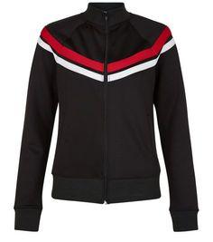 Black Chevron Stripe Zip Up Jacket  | New Look