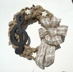 Burlap Wreath Music Note Holiday Music by CountryCraftsnflower