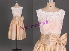 2014 knne length bridesmaid gownsshort champagne von PrincesssBride