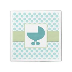 Baby Buggy Turquoise Baby Shower Paper Napkins