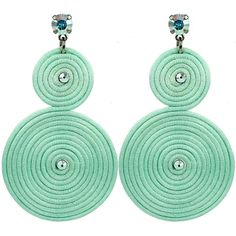 Claudia Baldazzi Spiral Earrings Mint Green Aurora Boreale ($101) ❤ liked on Polyvore featuring jewelry, earrings, orecchini, statement earrings, spiral jewelry, multi colored jewelry, mint green earrings, mint jewelry and colorful jewelry