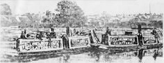 """Captioned: """"Emperor & Victoria at The Meadow, Brentford c1900"""" #brentford #canal #barge #fmc #steam #narrowboat #london #waterway #fellows #morton #clayton"""