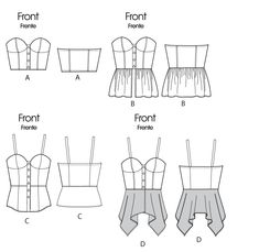 ***McCall's M6325 Pattern - Bustier Top***.MISSES' TOPS: Close-fitted, self-lined tops. A, B: Boning. A/B, C, D cup sizes.