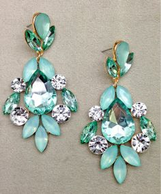 Perfect to add some extra pop and sparkle to an appearance outfit!  PICASSO SEAFOAM EARRINGS #love #pastel   http://thepageantplanet.com/category/pageant-wardrobe/